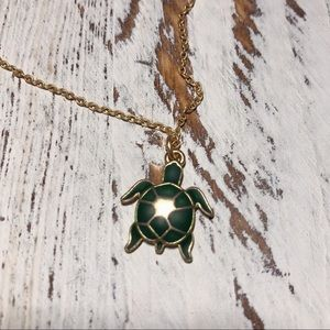 GOLD & GREEN TURTLE NECKLACE